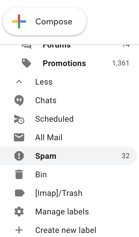 Here is where you can find the spam folder in Gmail email client