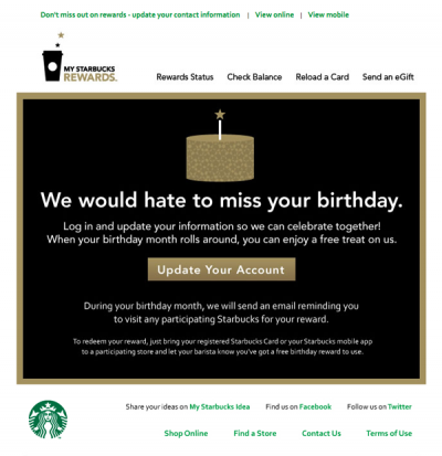 Starbucks  re-engagement email design