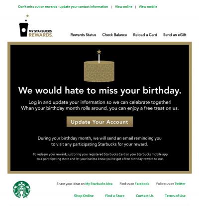 Starbucks  re-engagement email design