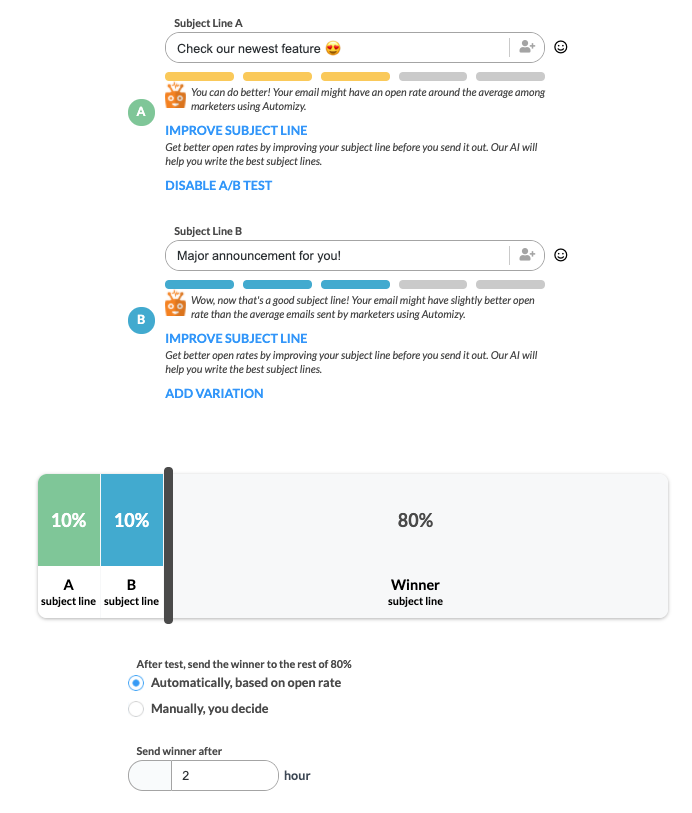AB testing subject line Automizy