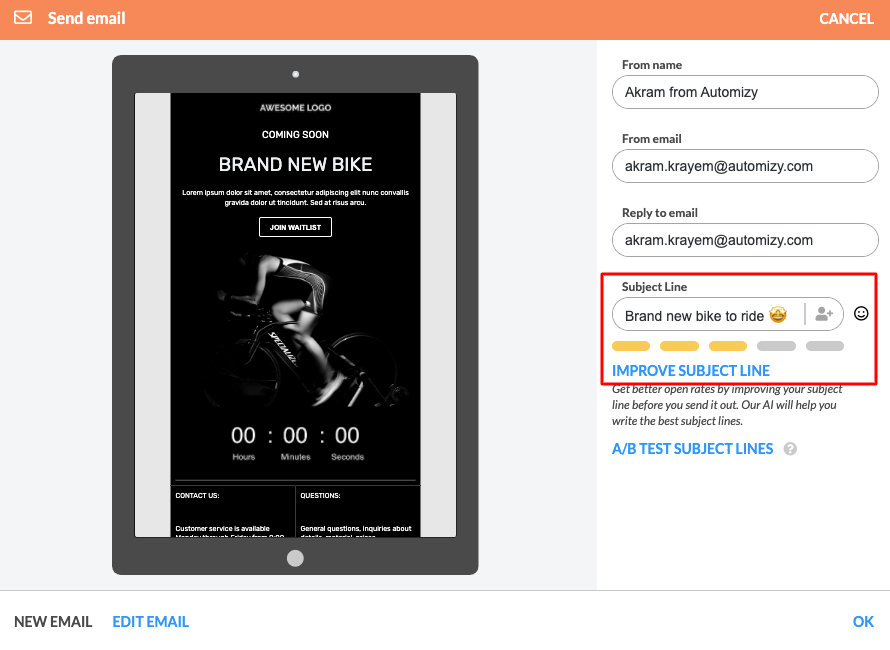 Subject line testing in Automizy
