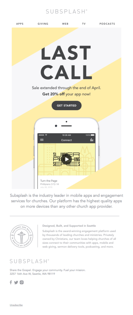 Subsplash promotional email example