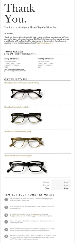 Classic Specs purchase confirmation email design