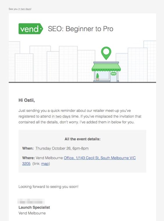 Vend event reminder email