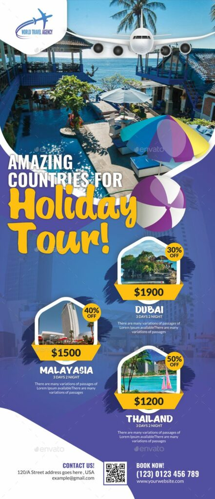 "Amazing Countries for Holiday Tour"" travel email design"