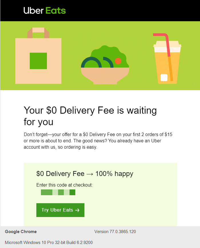"UberEats ""Your $0 Delivery fee is waiting for you"" Follow-Up Sequence template"