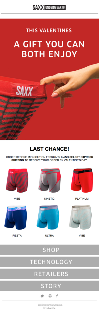 SAXX Underwear gender segmentation Valentine's email design