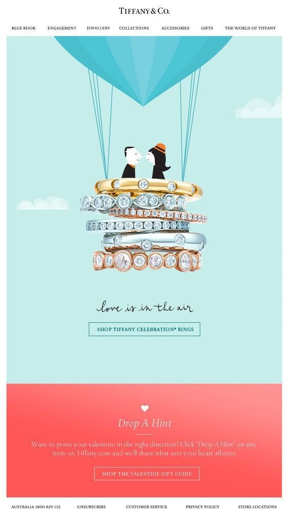 "Tiffany & Co. ""love is in the air"" Valentine's day email example"