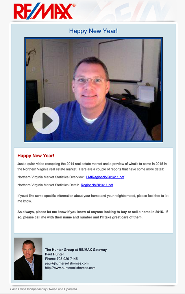 Real estate email idea to send on new years with a video to increase engagement and get closer to your customers