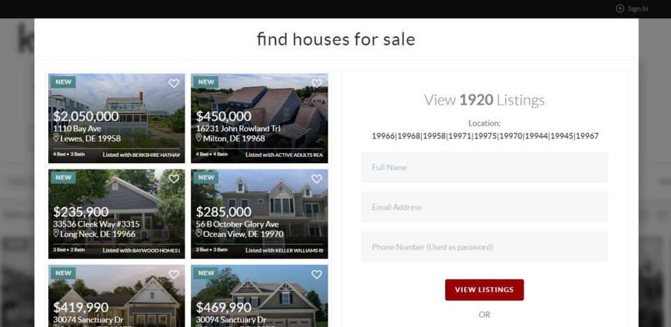 Real estate email list building idea with gated listing to motivate opt-in