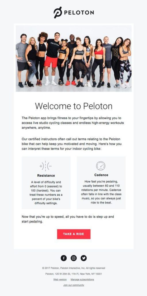 Fitness welcome email for new members to increase engagement and set expectations
