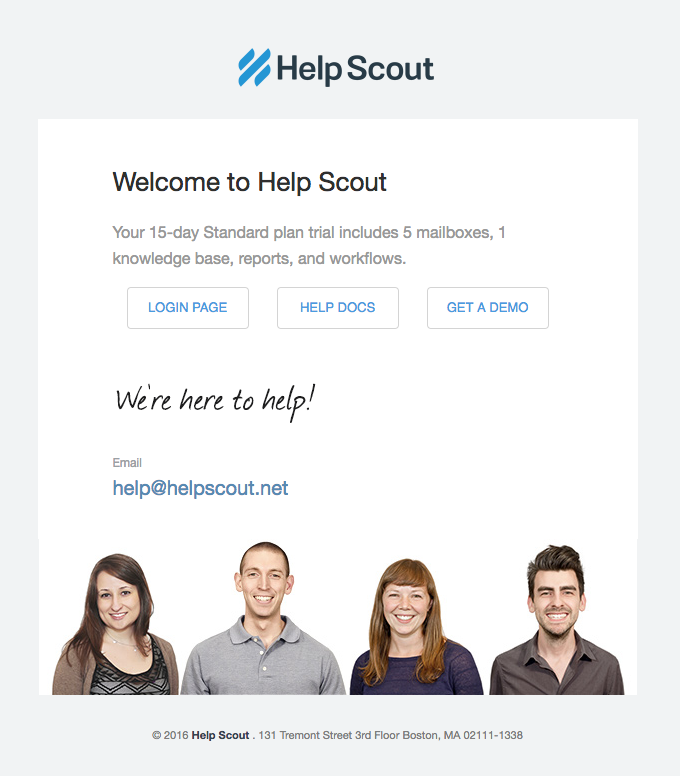 Help Scout team photo in a welcome email