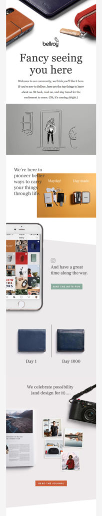 "Bellroy ""fancy seeing you here"" welcome email template"