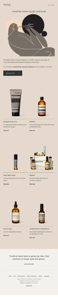 Aesop limited time email campaign example
