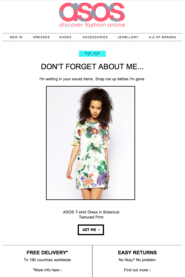 ASOS re-engagement email design
