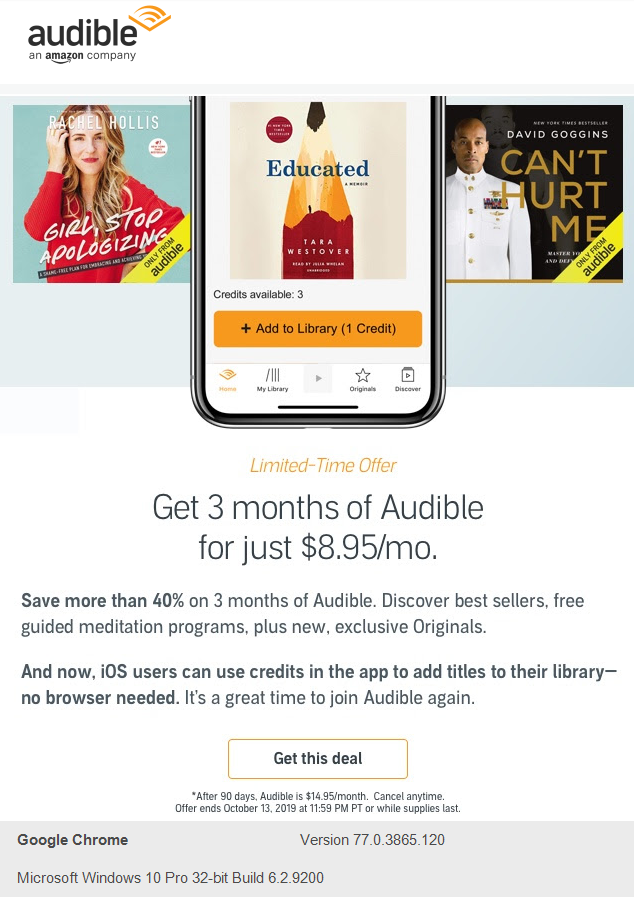 "Audible engagement email design ""get 3 months of audible for just $8.95/mo"""