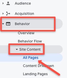 Google Analytics screenshot of how to access site content