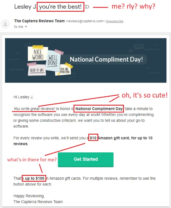 Capterra National Compliment day email offer to reward users