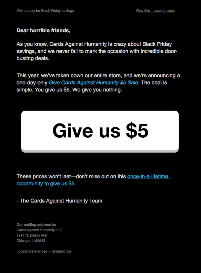 Cards against humanity Black Friday funny offer