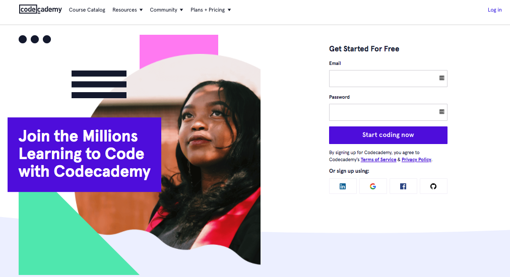 CodeAcademy landing page