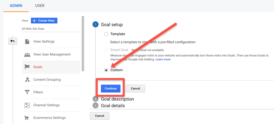 Custom continue for landing page optimization