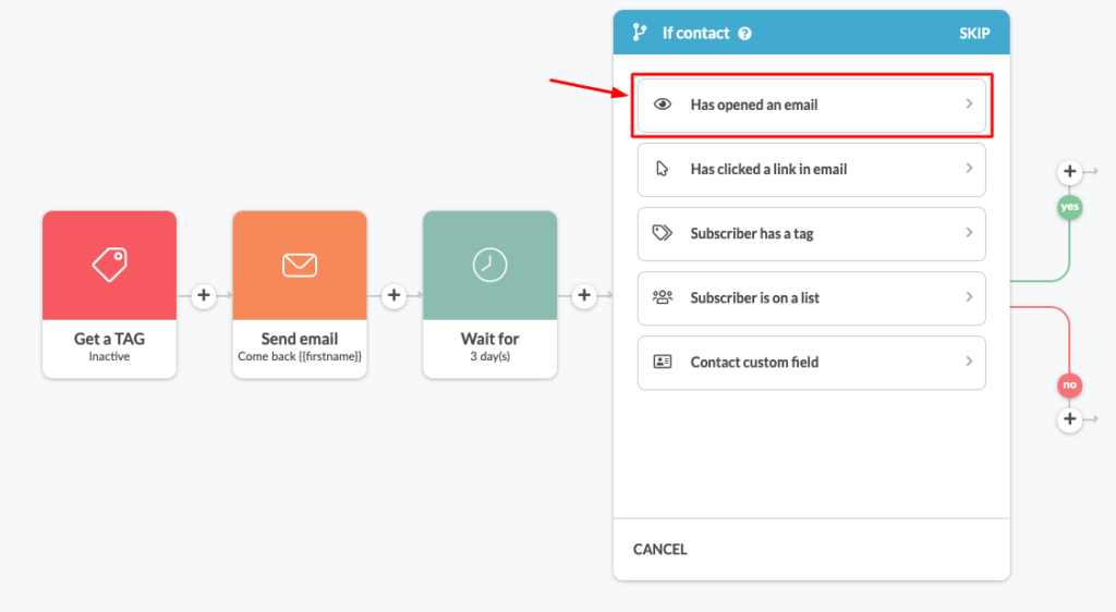 Segment inactive contacts based on opened email