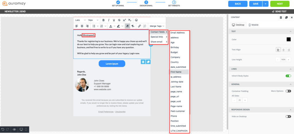 Email personalization inside Automizy's email marketing software