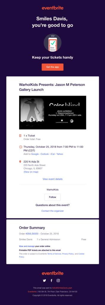 """Eventbrite """"Smiles Davis you're good to go"""" registration confirmation email design"""