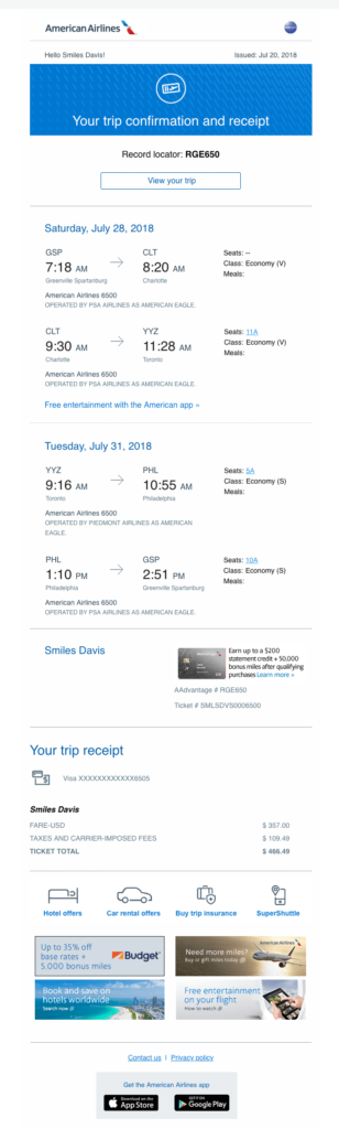 AmericanAirlines flight confirmation email template
