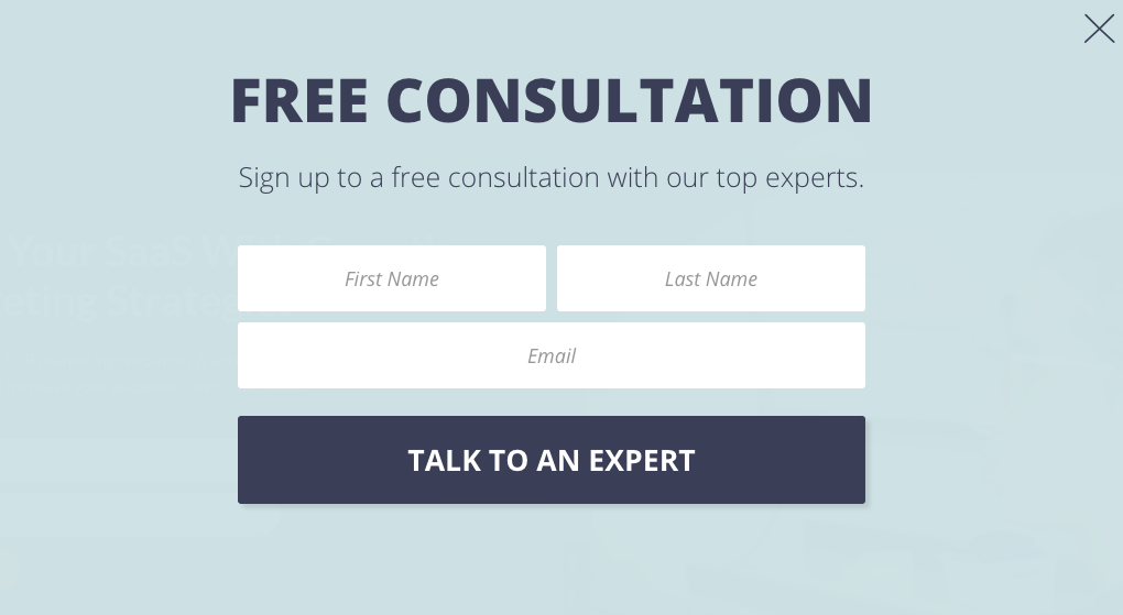 Example of a popup for a free consultation to build B2B email list