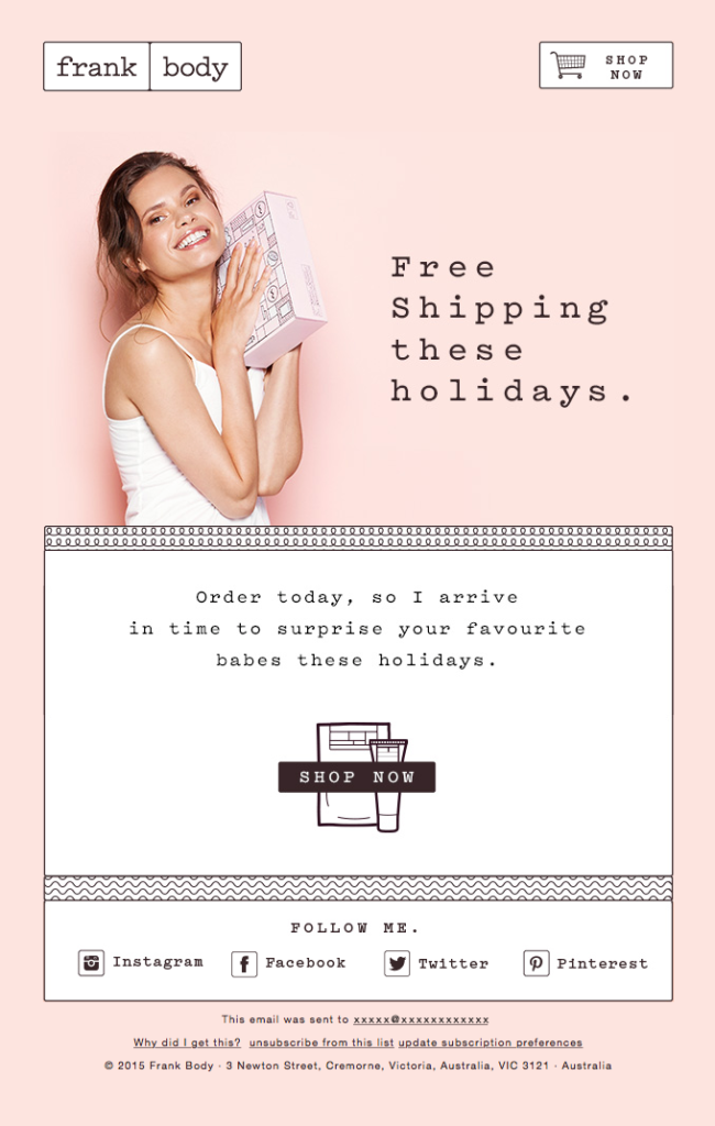 Free shipping these holidays Frank Body xmas email template