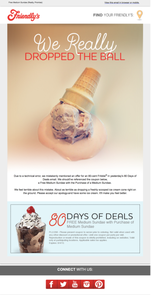 Friendly's apology email template