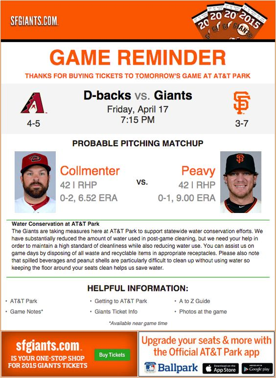 SF Giants event reminder email for their game with a thank-you note as customer delight and appreciation