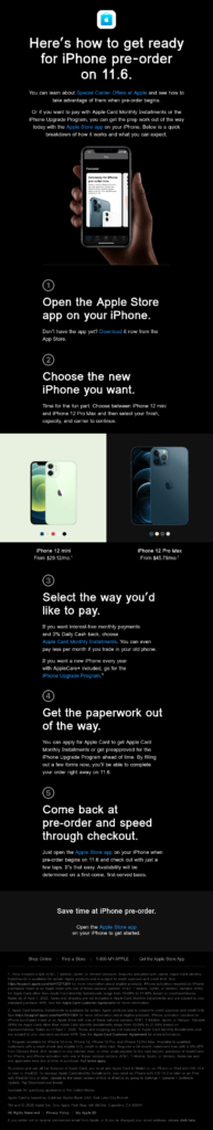 Apple iPhone pr-order product launch announcement email example