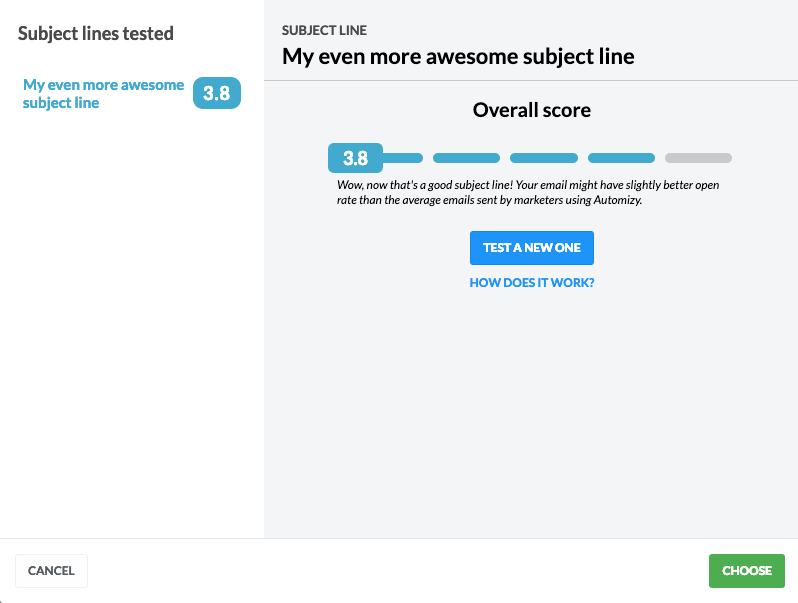 How Automizy test and score your email subject lines