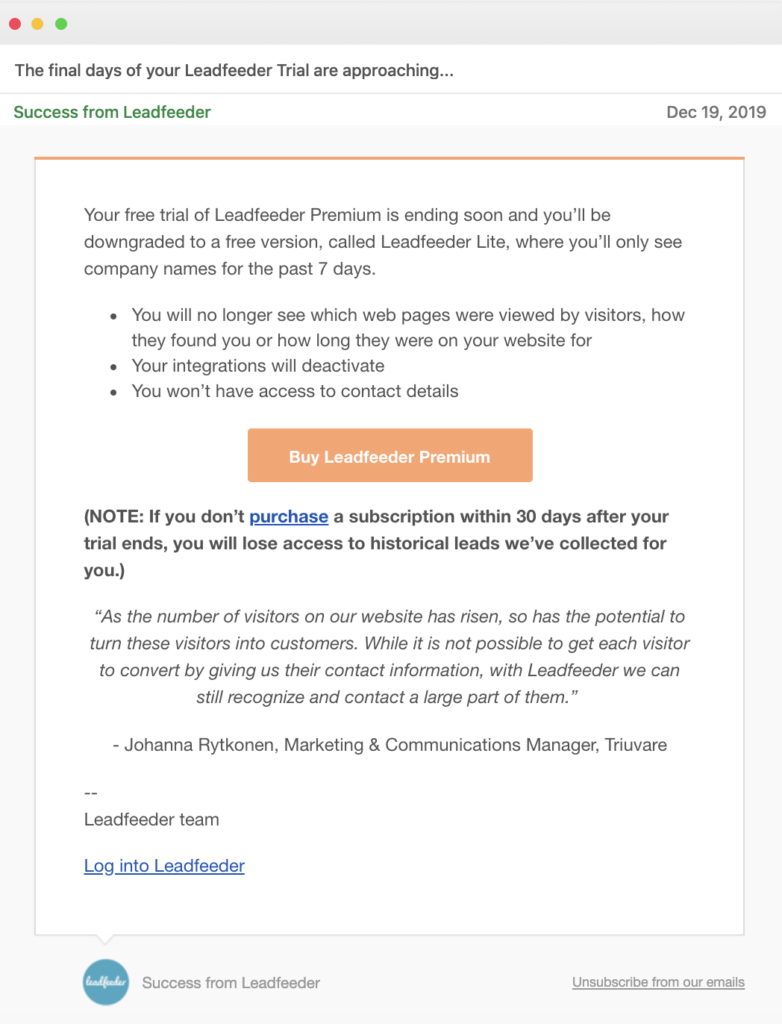 Leadfeeder email call to action example trial over
