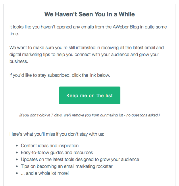 Aweber re-engagement email example