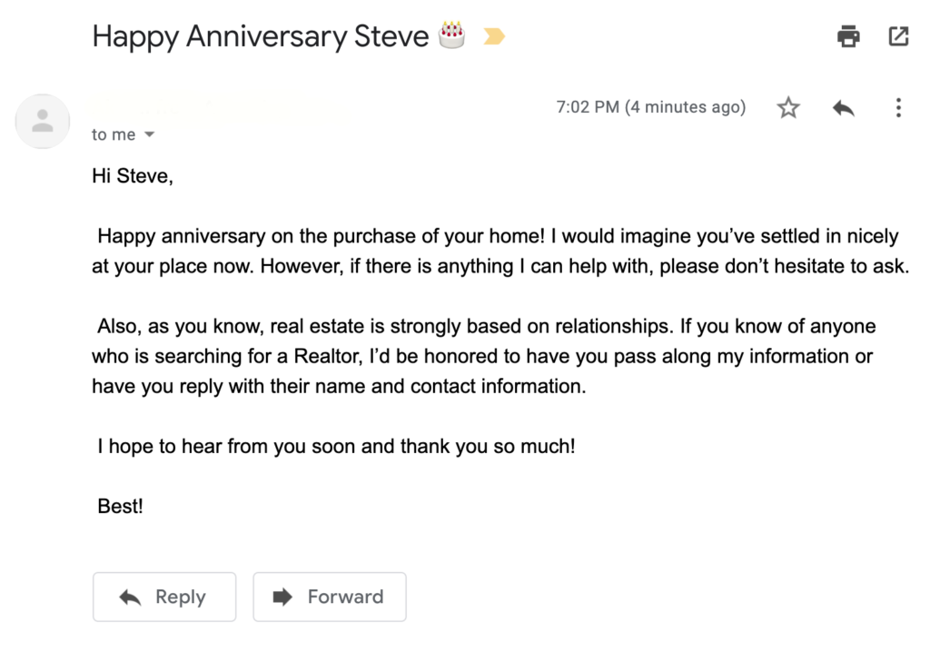 Real estate anniversary email idea to increase customer referral and engage customers
