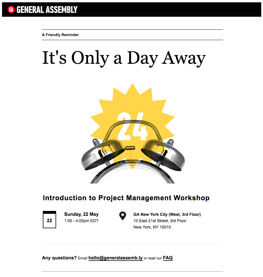 """It's only a day away"" General Assembly Resending email example"