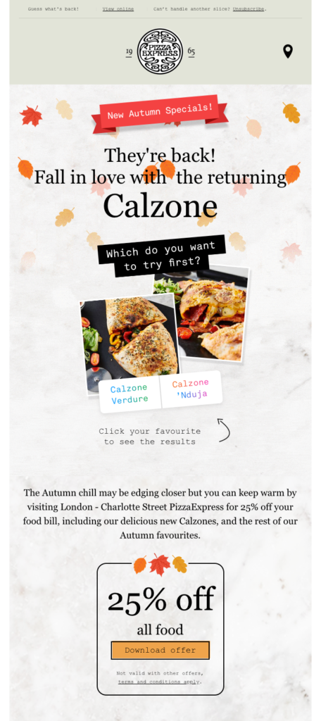 Pizza Express restaurant email example