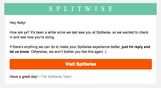 Splitwise re-engagement template
