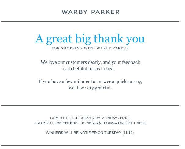 """""""A great big thank you"""" confirmation email sample"""