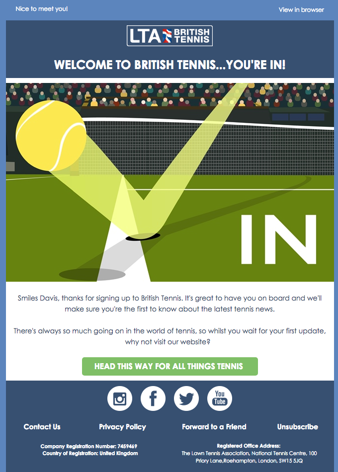 """Welcome to british tennis... You're in!""  welcome email design LTA"