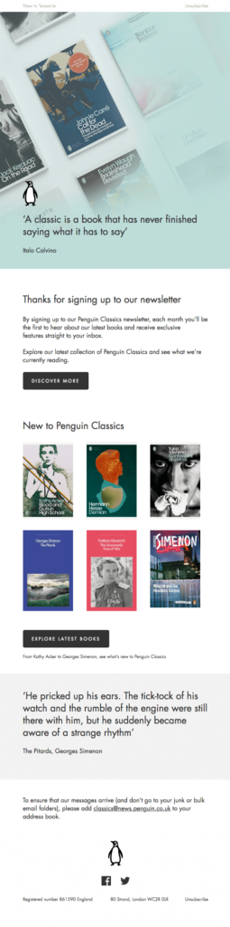 Penguin Classic subscription confirmation email sample