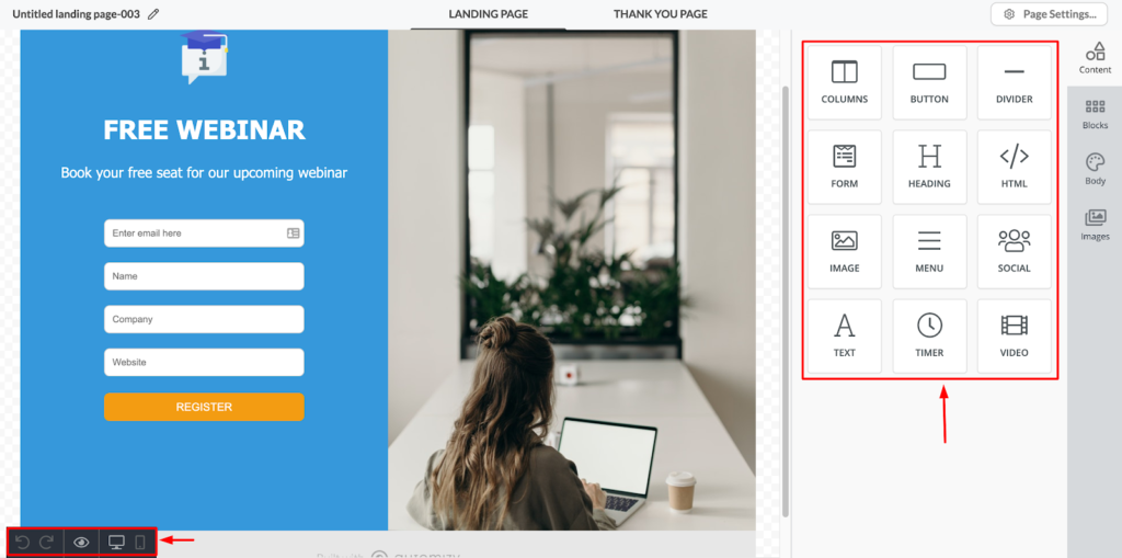 Landing page builder in Automizy