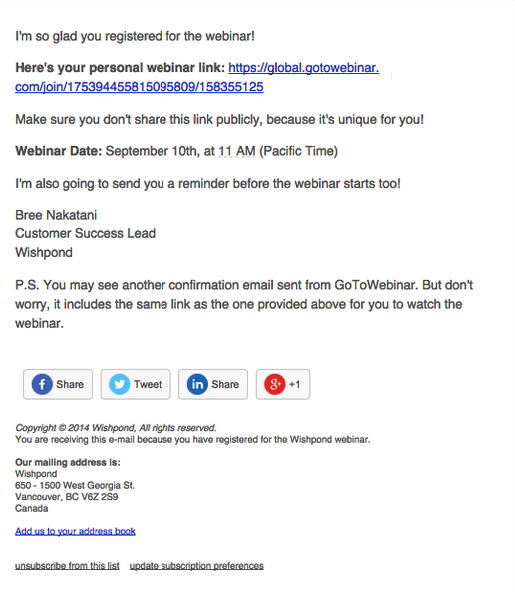 Webinar registration email example to increase attendance