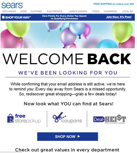 Sears re-engagement email sample