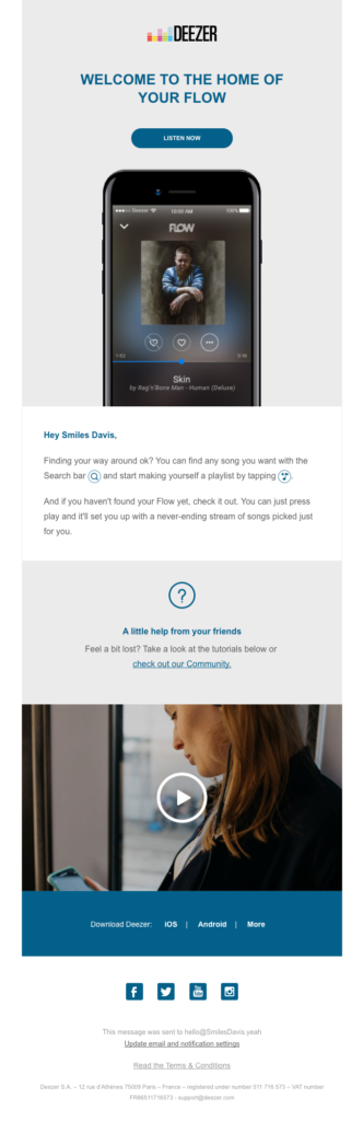 "Deezer ""Welcome to the home of your flow"" responsive welcome email sample"