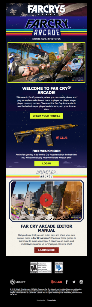 Far Cry 5 Ubisoft welcome email sample