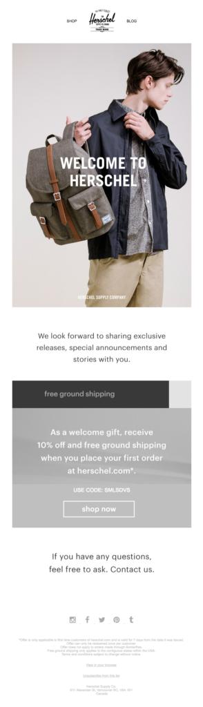 Herschel welcome email template